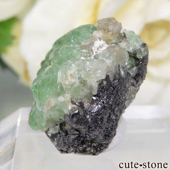 タンザニア産 ツァボライト&ダイオプサイトの母岩付き結晶(原石) 32.5ctの写真4 cute stone