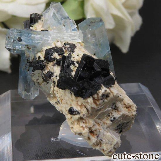 ナミビア エロンゴ産 アクアマリン&ブラックトルマリンの結晶(原石)17.7gの写真0 cute stone