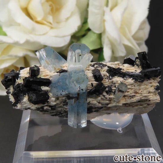ナミビア エロンゴ産 アクアマリン&ブラックトルマリンの結晶(原石)17.7gの写真1 cute stone