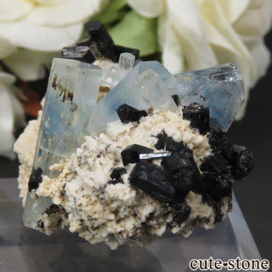 ナミビア エロンゴ産 アクアマリン&ブラックトルマリンの結晶(原石)17.7gの写真2 cute stone