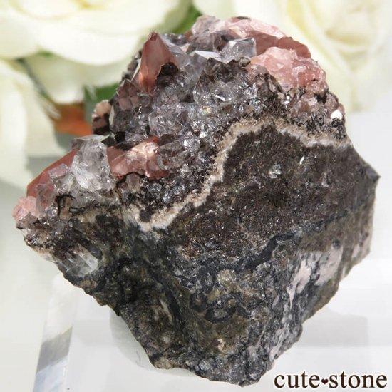 ペルー Uchucchacua Mine産 ロードクロサイト&クォーツの母岩付き結晶(原石)45.4gの写真2 cute stone
