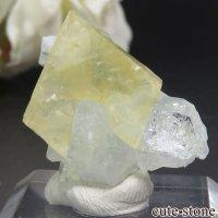 インド プネー Wagholi産 グリーンアポフィライト&イエローカルサイトの結晶(原石) 4.6gの画像