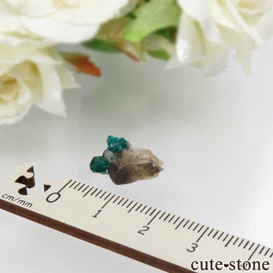 カザフスタン産のダイオプテーズの母岩付き結晶(原石)1.2gの写真2 cute stone