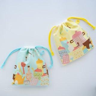 ごきげんhanautaの給食袋:ビタミンレモン色(フック用紐付き)
