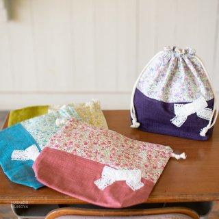 花柄&リボンのお弁当袋
