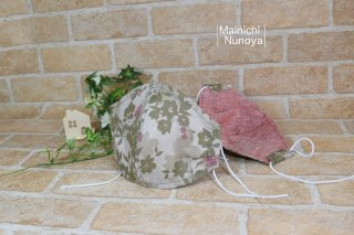 涼しい肌触りのリネン立体マスク:オリーブ花柄(レディース・ジュニアサイズ)