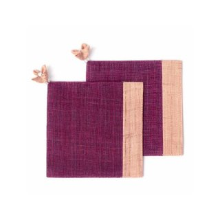 麻布コースター ピンク/赤紫色(花飾り付) 2枚セット