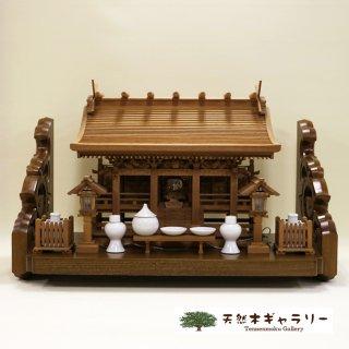 <span class='ic03'>送料無料</span>【神棚セット】流れ屋根三社<欅>大 木製付属品付 棚板:栓3.65尺 彫刻入り kamidana-keyaki-nagare3-l-sen365hori-set