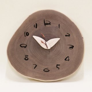 <span class='ic03'>送料無料</span>木の時計 『大きな切り株時計』  エンジュ クォーツ clock-kl-07
