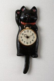 福々招き猫 陶器の柱時計 クロ猫