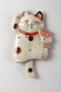 福々招き猫 陶器の尾振り掛時計