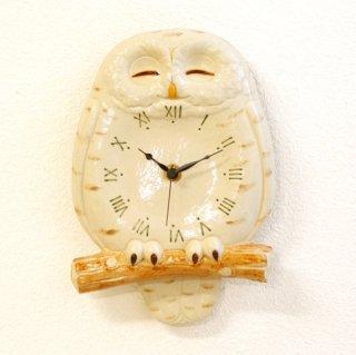 シロフクロウ 尾振り掛時計 おやすみ