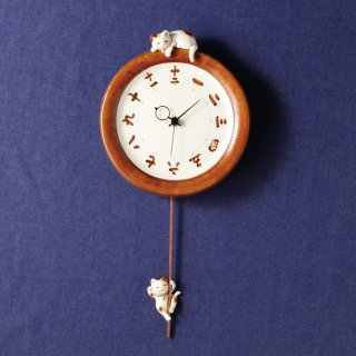 福々招き猫 陶器のペア掛時計