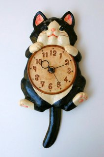 福々招き猫 陶器の風水掛時計