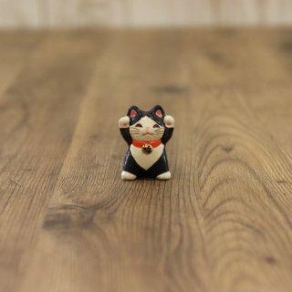福々招き猫 陶器の柱時計 シロ猫