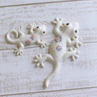 家守(ヤモリ)壁飾り 青の花 セット