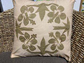 南国ハイビスカス刺繍クッションカバー45×45ファスナー式