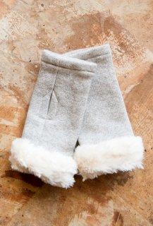 Organic Cotton ファー付き指無し手袋