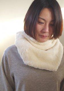 Organic Cotton Fur 生成り色 変形△マフラー