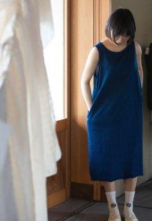 Organic Cotton藍染ジャージー Aラインワンピース
