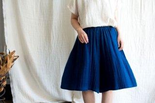 Organic Cotton 藍染ガーゼのフレアキュロット