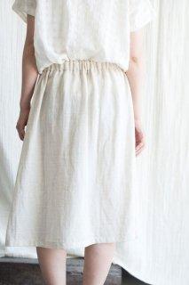 Organic Cotton リネン混Wガーゼスカート