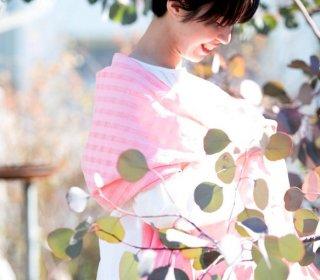 シャドーチェック/ボタニカルダイOrganic Cottonストール【ポーピー】