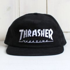 THRASHER / MAGAZINE LOGO CORDUROY SNAPBACK - BLACK スラッシャー キャップ ブラック