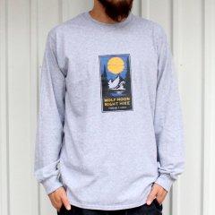 夕陽のTシャツオリジナル WOLF MOON NIGHT HIKE L/S Tee - GREY ロンT グレー