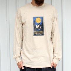 夕陽のTシャツオリジナル WOLF MOON NIGHT HIKE L/S Tee - SAND ロンT サンド ベージュ
