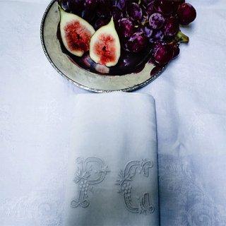 フランス アンティーク | ダマスク織 ナプキン 刺繍 モノグラム イニシャル PG