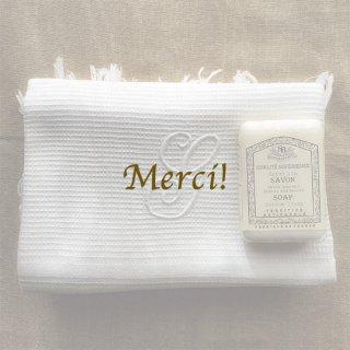 フランス ヴィンテージ   ワッフルタオル 刺繍 モノグラム イニシャル G