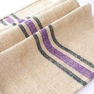 ヴィンテージ 穀物袋 グリーン×ラベンダー*washed!