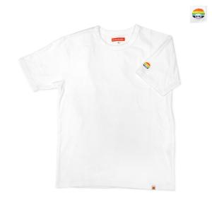 スパンフライス袖レインボー刺繍T シャツ(ホワイト)