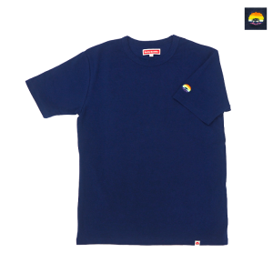 スパンフライス袖レインボー刺繍T シャツ(ネイビー)