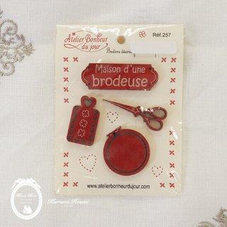 フランス製ボタンパーツ◆メゾン・ブロドゥリー(4種類の刺繍モチーフ)【レッド】