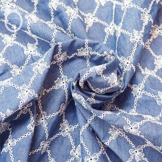 デニム調リボン刺繍