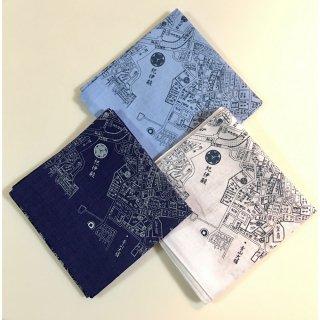 江戸古地図バンダナ 3色セット(白・水色・紺)
