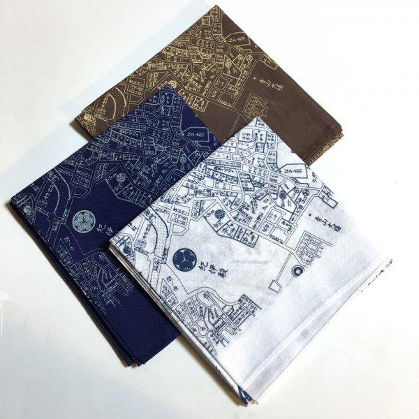 江戸古地図バンダナ3点セット(紺、茶、藍色印刷の白)