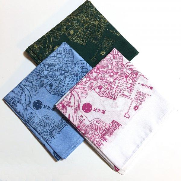 江戸古地図バンダナ3点セット(深緑、水色、赤紫印刷の白)