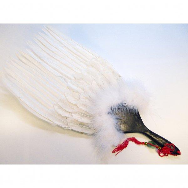 高級三段羽扇(白)