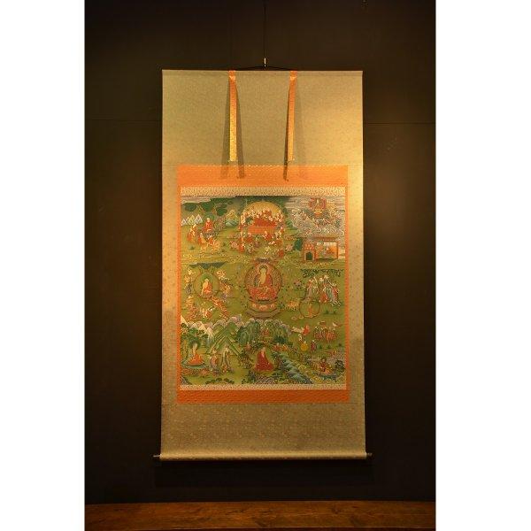釈迦の生涯 仏画掛け軸(全紙幅)