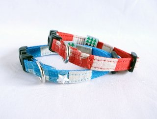 Checkborder Collar<br>Size SS<br>Blue/Red<br>