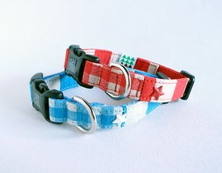 Checkborder Collar<br>Size S<br>Blue/Red<br>