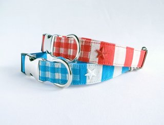 Checkborder Collar<br>Size L<br>Blue/Red<br>