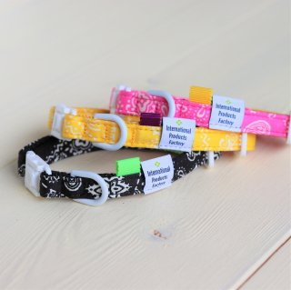 Bandana Collar<br>Size SS<br>Black / Pink / Yellow<br>