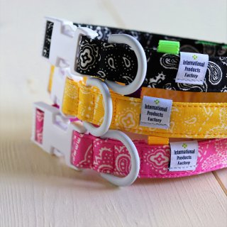 Bandana Collar<br>Size M<br>Black / Pink / Yellow<br>