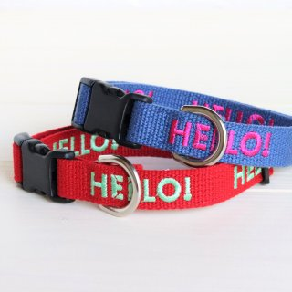 HELLO! Collar<br>Size M<br>Red / Indigo