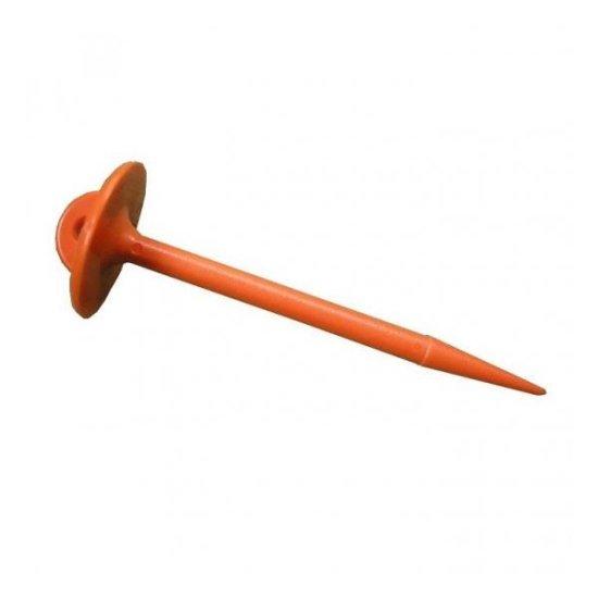 マルチ押さえL型オレンジ・100本入 農作業用品 ピン 杭
