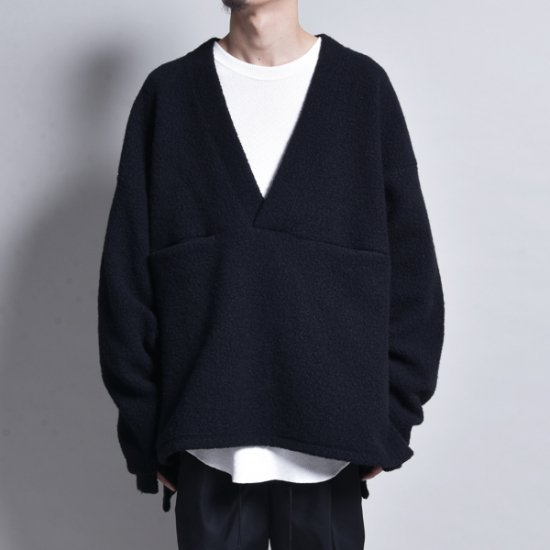 メンズファッションrin / V Loose Knit Sleeve Black